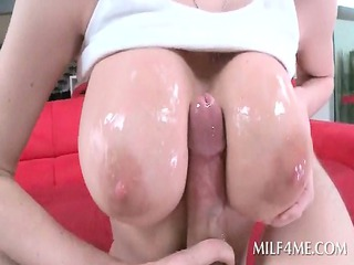 pale penis starved woman giving blow and titjob