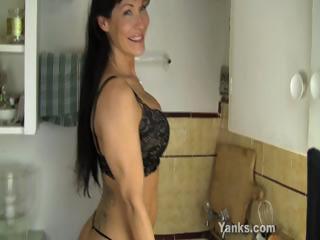 hot woman banging a kitchen counter