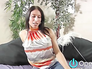 sweet brunette with large tits gives bj