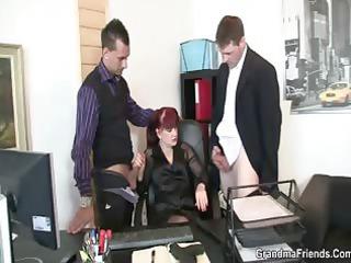 elderly office bitch likes two dicks