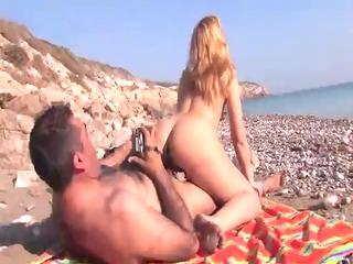 cougar blond latina banged on the sea coast