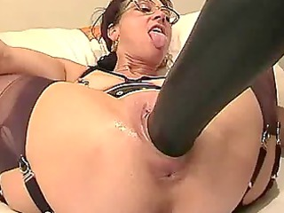fresh lady fisted and fucked with a big plastic