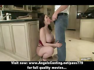 busty brunette milf does cock sucking and is