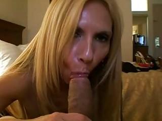 slutty blond momma into pantyhose sucks large