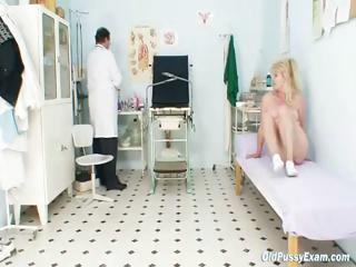 blonde grandma horny kitty exam with enema