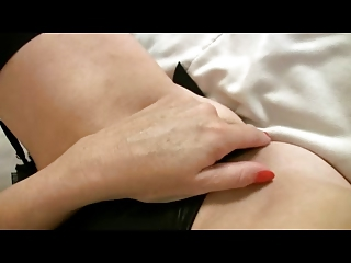 tiny boobed older lady in dark pantyhose fist