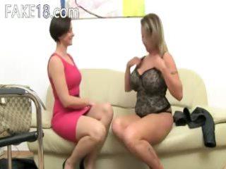 mature pornstar fucking on leather armchair