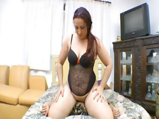 horny heavy brunette wife smothers her male with