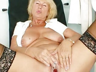 pale woman greta big real boobs and uniform