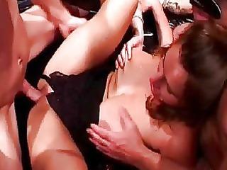two bootylicious naughty mommas obtain gangbanged