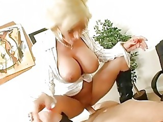 delightful desperate blonde babe getting her cave