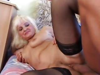 hot blonde euro old assbanged in stockings