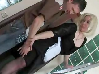 blond russian grown-up lady and male