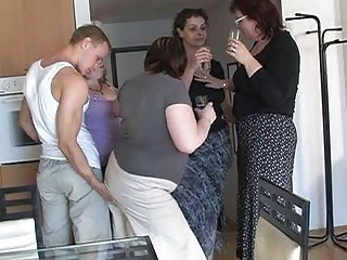 two by two busty milfs seduced sweet lad to coll