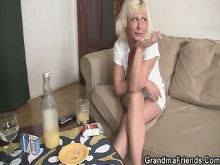 alone granny swallows two cocks