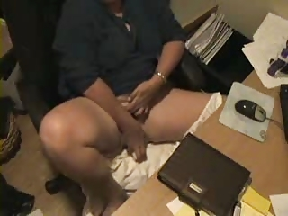 hidden cam catches mum pushing dildo at computer