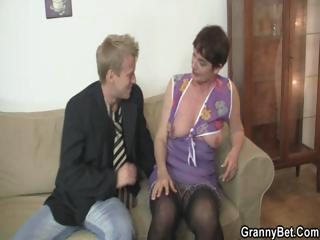 granny lady spreads her feet for uneasy cock