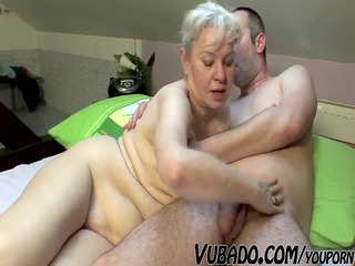 mature duo pierce difficult on bed