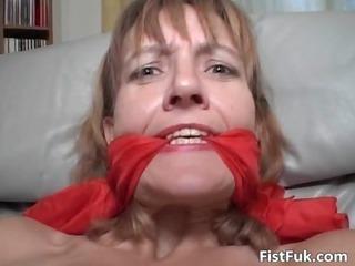 older redhead inside lingerie gets her