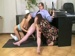 aged duo with a breasty wench at office