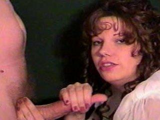 brunette wifey sucks hubby til he cums on her