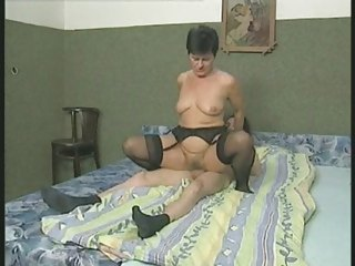 hairy granny into nylons bangs the boy