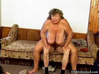 filthy grandma with huge chest driving part5