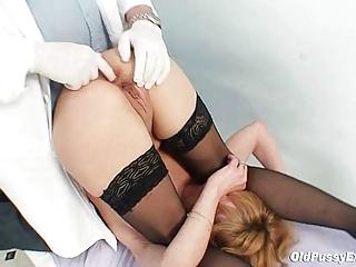 slim mature babe gyno clinic exam by kinky doctor