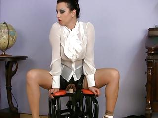 slutty clothed woman fuck coach riding sex machine