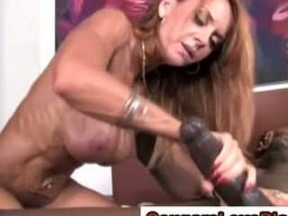 cougar angel rides huge dark penis