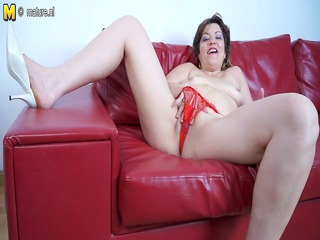 older mother riding a fuck vibrator on her