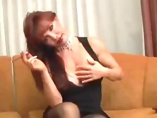 desperate older vanessa has a smoke before she