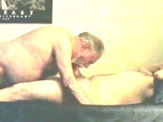 mature elderly grey beard grandpa and younger bear
