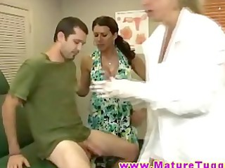 two naughty busty grown-up lady nurses give