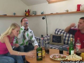 partying guys score slutty pale granny and nail