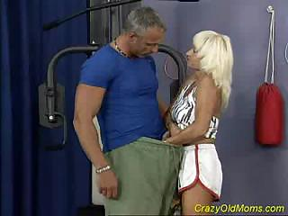 crazy old milf takes pierced hard